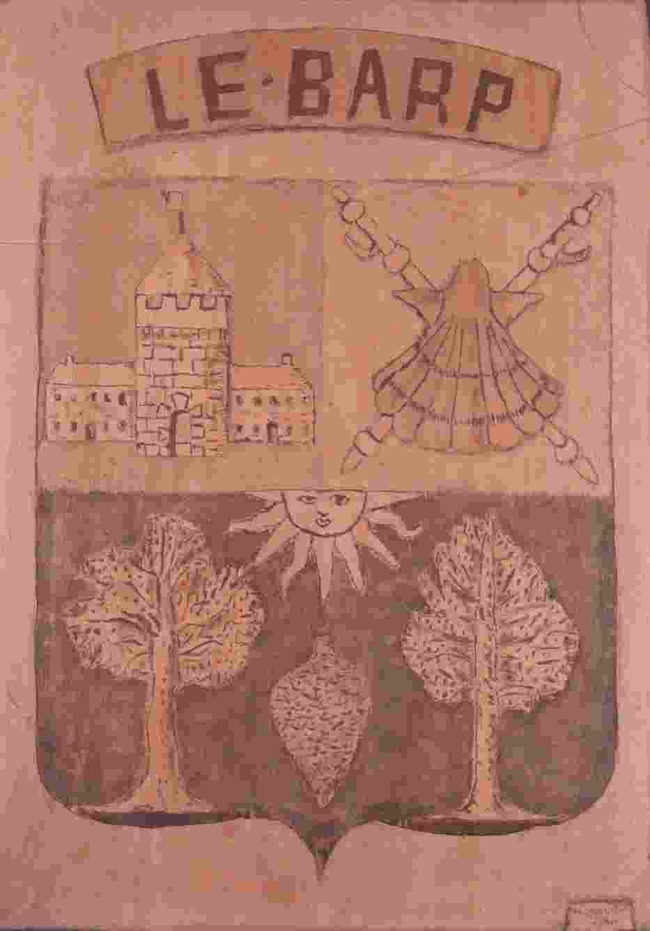 das Wappen von Le Barb rechts oben die Pilgerembleme