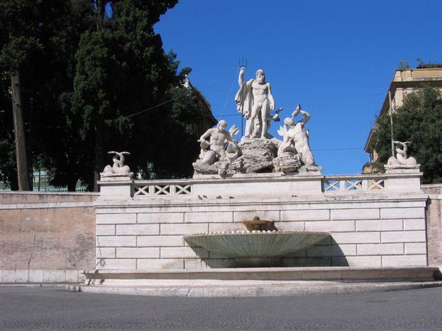 ein Brunnen auf dieser Piazza